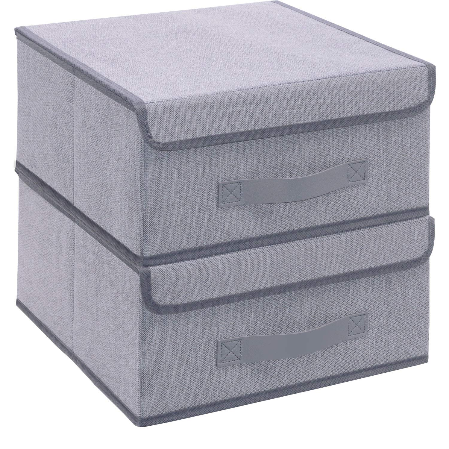 Onlyeasy Foldable Storage Bins Cubes Boxes with Lid - Storage Box Cube Cubby Basket Closet Organizer Pack of 2 with Leather Handles for Closet Bedroom, 13'' x 13'', Linen-Like Grey, MXDLB2P by Onlyeasy