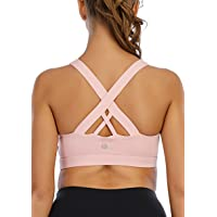 RUNNING GIRL Sports Bra for Women, Criss-Cross Back Padded Strappy Sports Bras Medium Support Yoga Bra with Removable…