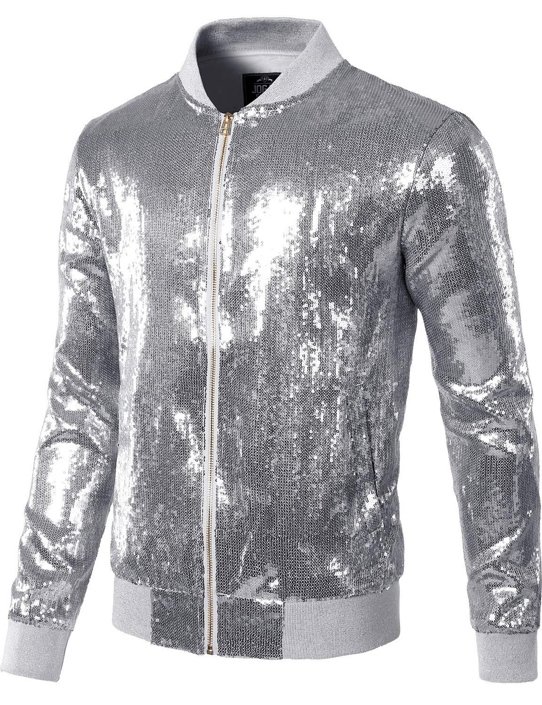 JOGAL Mens Sequins Nightclub Styles Zip up Varsity Baseball Bomber Jacket Medium A346 Silver by JOGAL