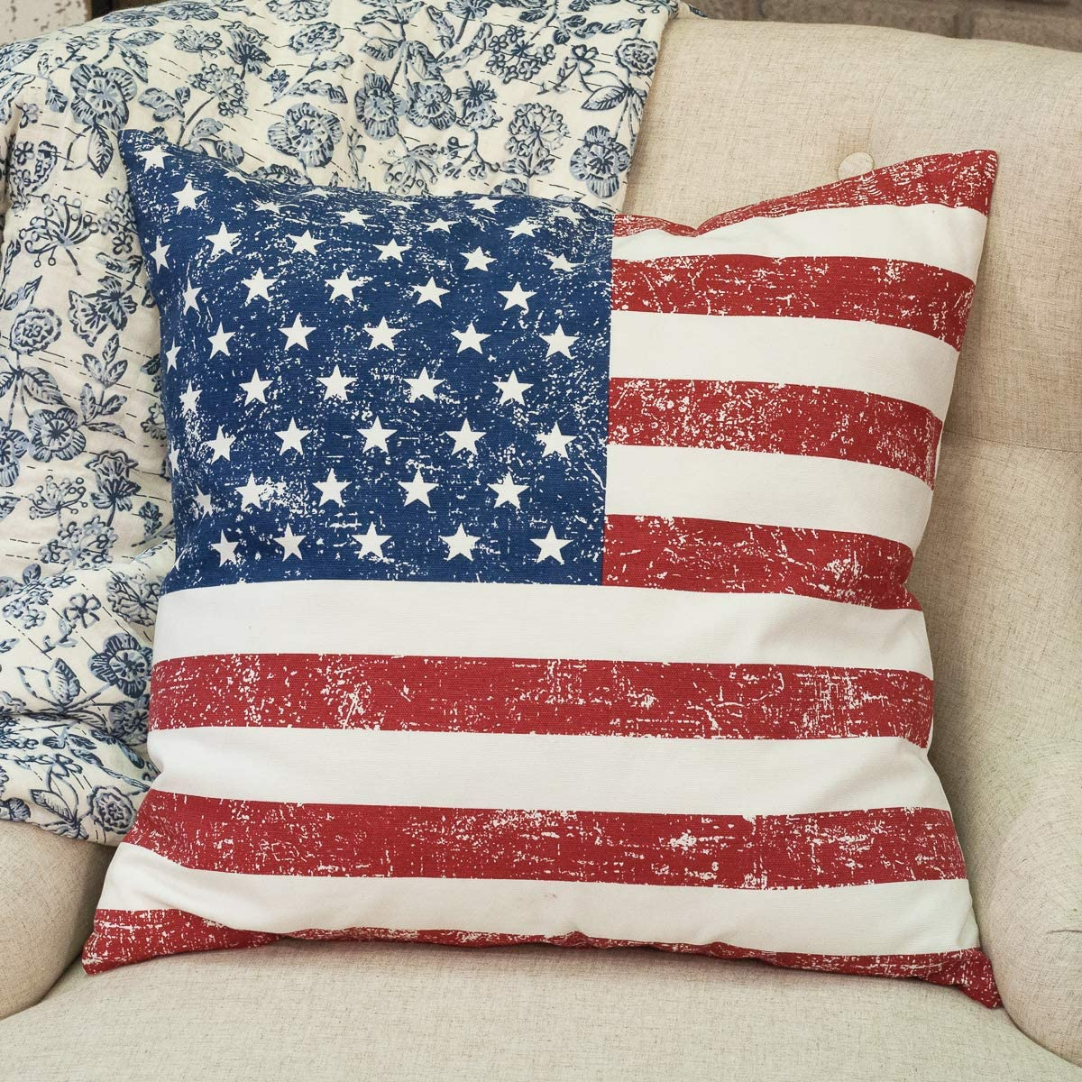 """Piper Classics American Flag Printed Throw Pillow Cover, 20"""" x 20"""", Americana Farmhouse Style Summer Décor, July 4th, Patriotic Accent, USA Flag, Distressed Printed Design"""