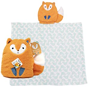 KIDS PREFERRED Rise & Shine Sleepy Stuffs - Plush Stuffed Animal Blanket - Fox