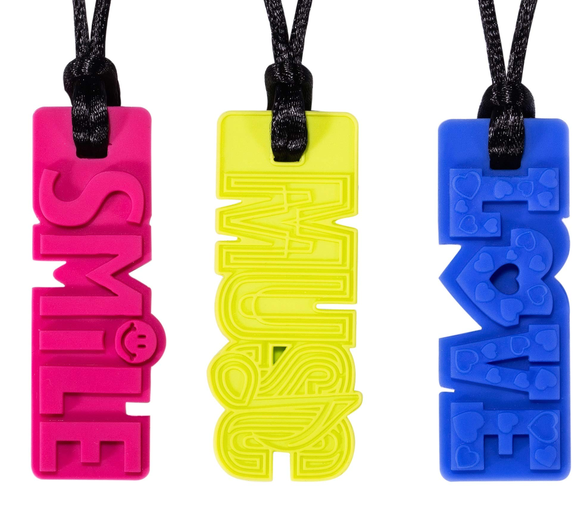Sensory Chew Necklaces for Boys & Girls, Chewelry for Kids/Adults with Autism/ADHD/ADD/SPD, Teething Babies for Moms to Wear, 3 Pack