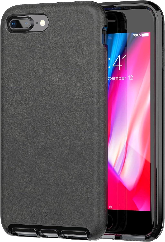 Tech21 Evo Luxe Premium Vegan Leather Protective Case for iPhone 7 Plus/iPhone 8 Plus, Black,T21-5991