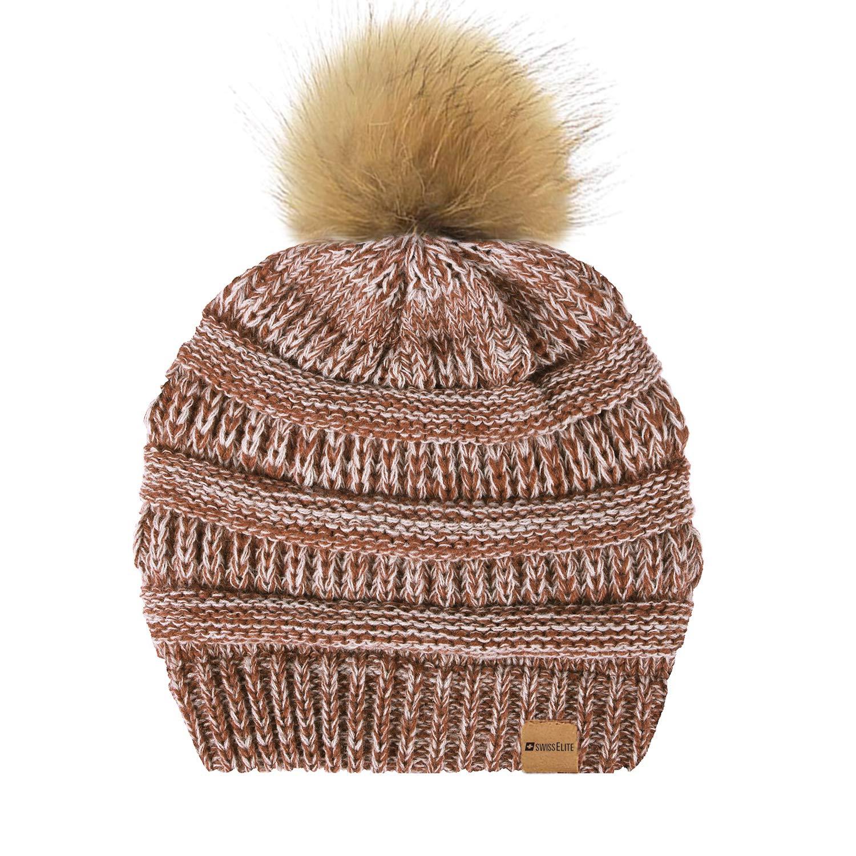 Tan White Beanie Hats for women with Pom Pom  Warm, Soft Knit Beanie, Thick Slouchy Knit Skull Cap