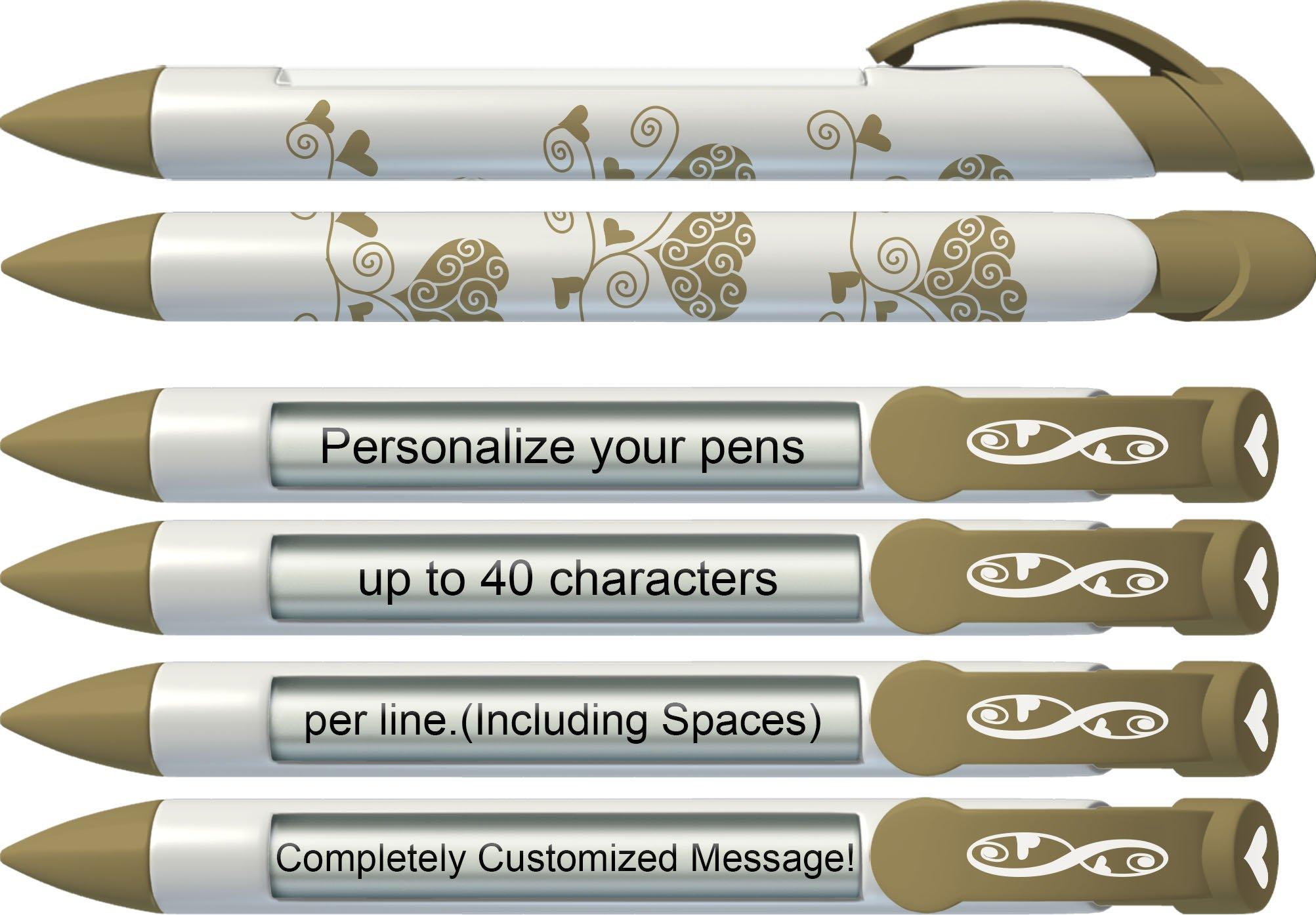 Love Pen by Greeting Pen- Personalized Gold Eternal Love Rotating Message Pen 100 pack P-WP-25-100
