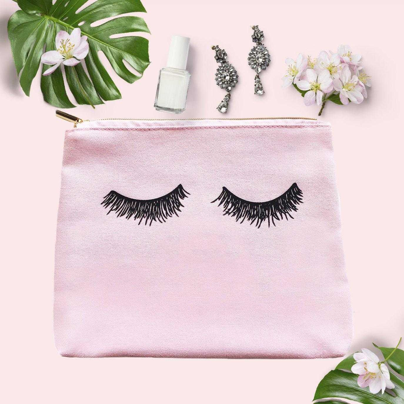 Amazon.com   Pink Eyelashes Makeup Bag   Make Up Bag Toiletry Bag Pencil  Case Travel Organizer Cosmetic Bag Bridesmaid Gift for Her Canvas Bride Gift    ... a13af4113e