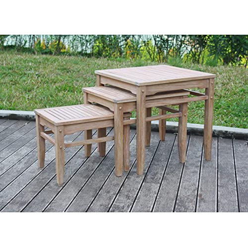 Cambridge-Casual 350083 Willow Nesting Tables Set of 3 , Weathered