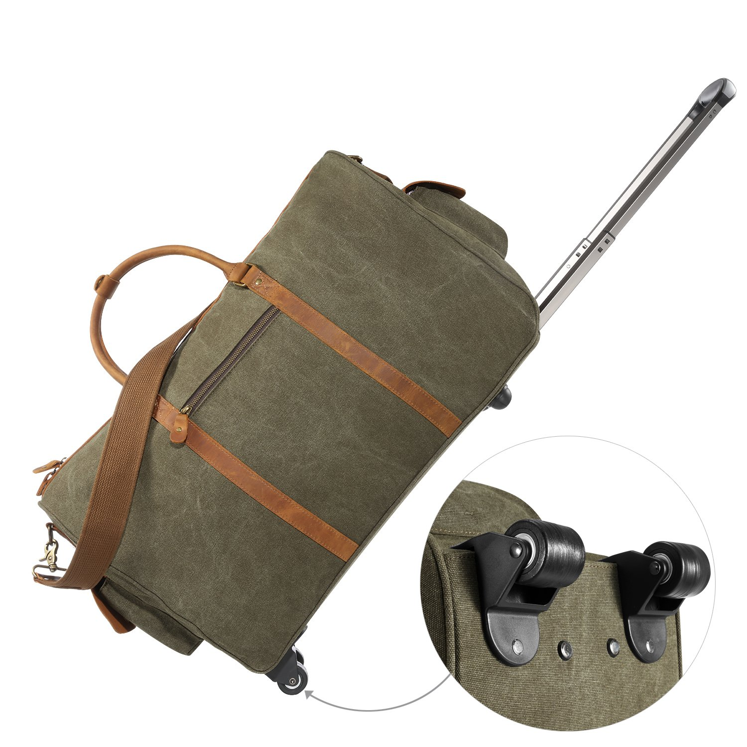 Kattee Rolling Duffle Bag with Wheels Canvas Travel Luggage Duffel Bag 50L (Army Green) by Kattee (Image #2)