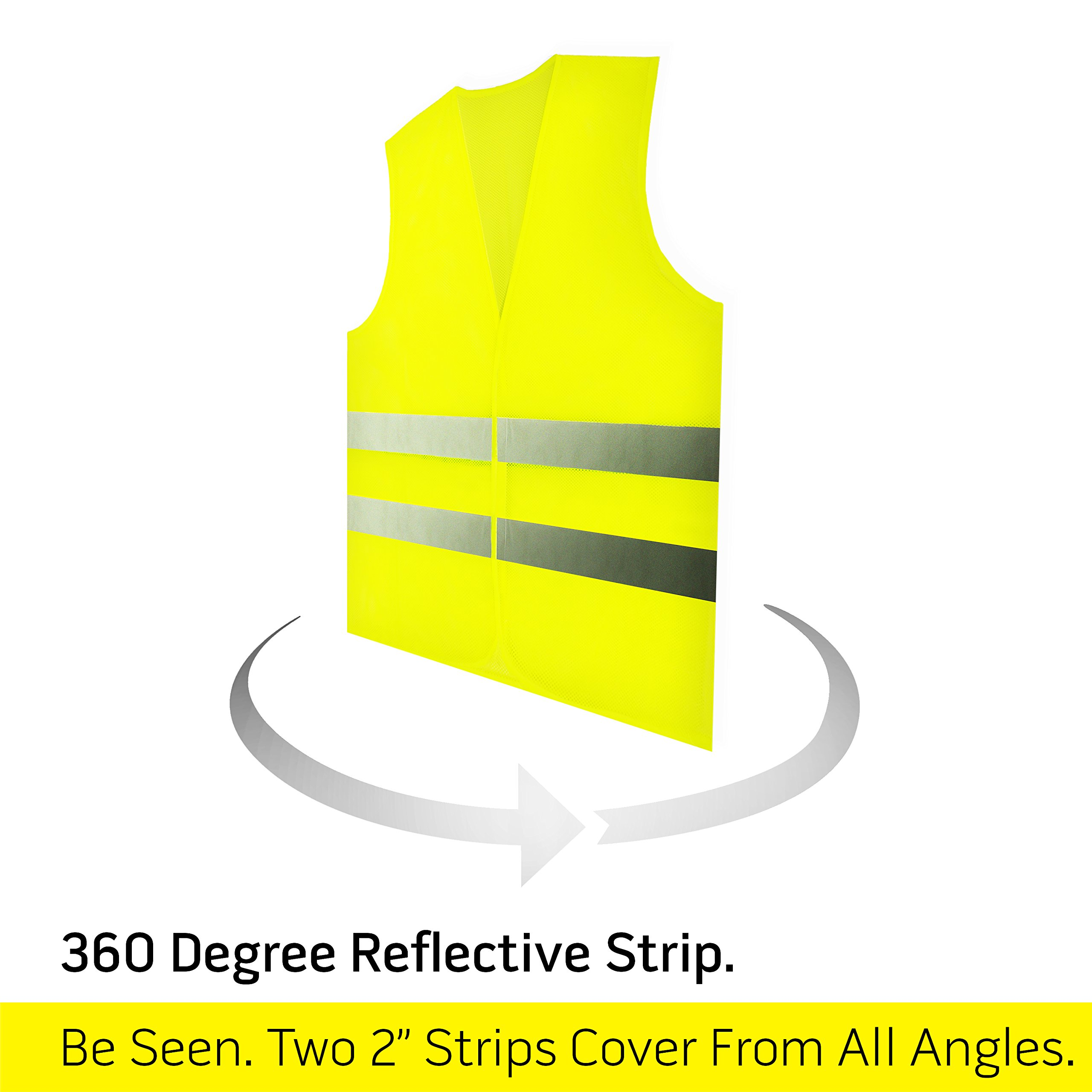 PeerBasics, 10 Pack, Yellow Reflective Safety Vest, Silver Strip, Bright Breathable Neon Yellow (Mesh, 10) by PeerBasics (Image #3)