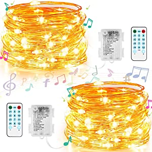 GDEALER Fairy Lights Sound Activated Music String Lights Battery Operated 20 FT 60 LEDs 12 Lighting Modes Waterproof Twinkle Lights with Remote Firefly Lights for Party Christmas Wedding (2 Pack)