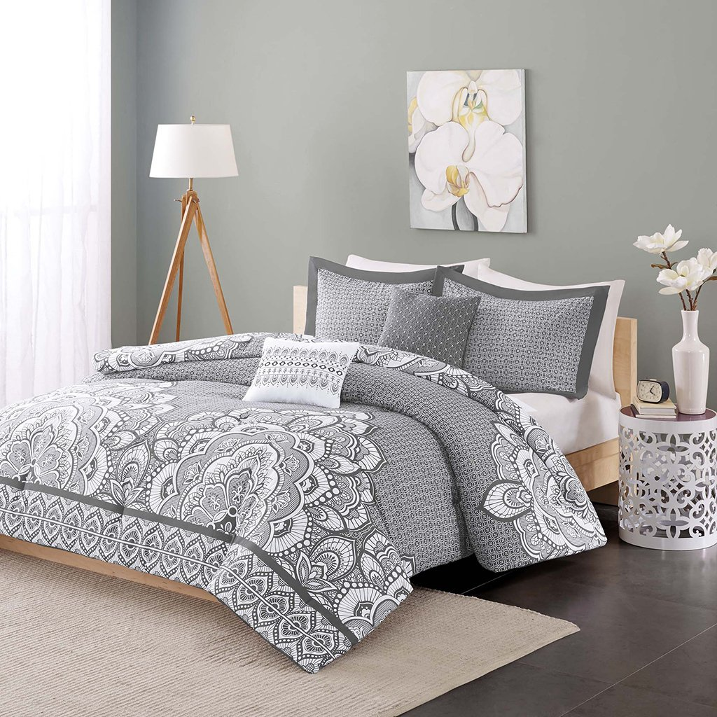 Intelligent Design Isabella Comforter Set Full/Queen Size - Grey, Geometric Damask – 5 Piece Bed Sets – Peach Skin Fabric Teen Bedding for Girls Bedroom