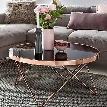 FineBuy Design Couchtisch ROUND ø 82cm Rund Glas Kupfer | Runder ...