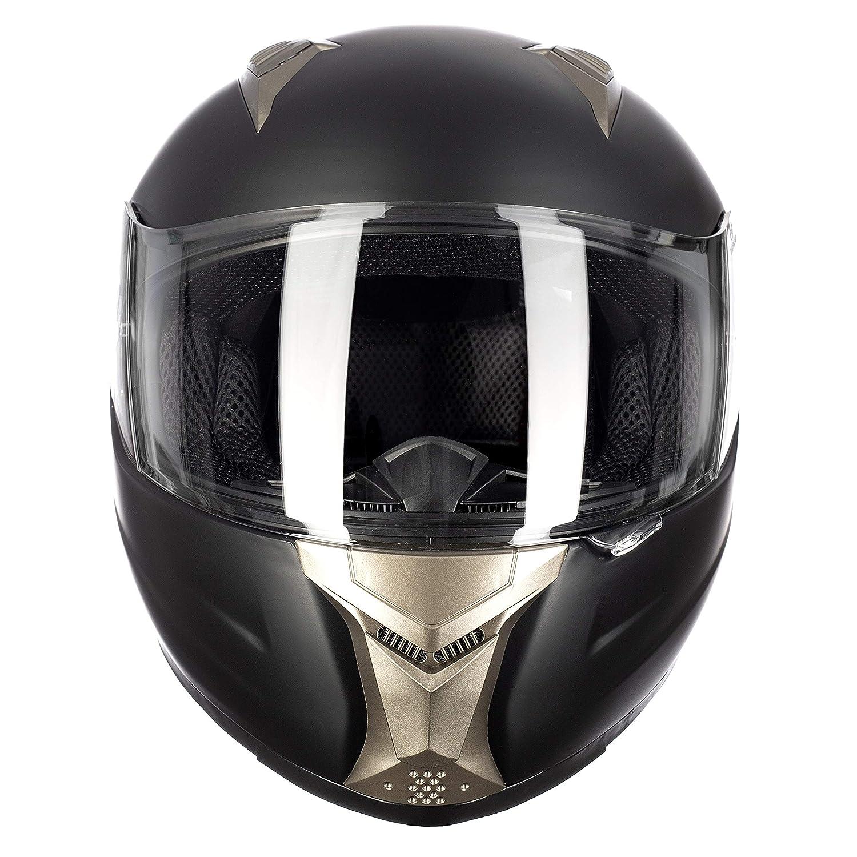 Westt/® Storm /· Casque Moto Int/égral en Noir Mat pour Scooter Chopper /· Casque de Moto Homme et Femme Demi-Jet /· ECE Homologu/é