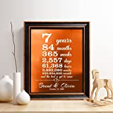 Personalized 7th Copper Anniversary Gift, Copper Foil Print