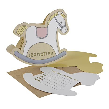 Ginger Ray Rocking Horse Birthday Or Baby Shower Invitations With Envelopes 10 Pack