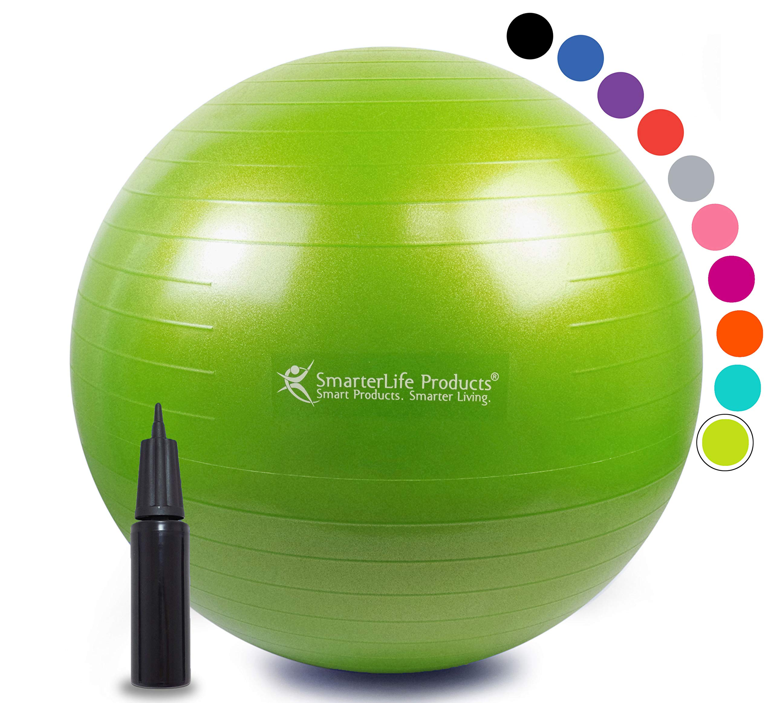 Exercise Ball for Yoga, Balance, Stability from SmarterLife - Fitness, Pilates, Birthing, Therapy, Office Ball Chair, Classroom Flexible Seating - Anti Burst, No Slip, Workout Guide (Lime, 45 cm)