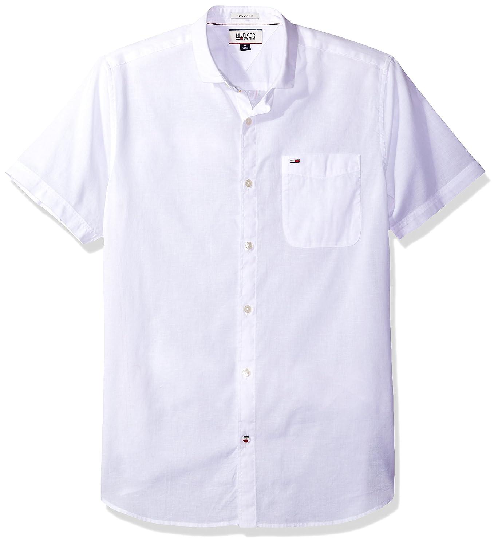 Tommy Hilfiger Men's Thdm Linen Blend Shirt with Short Sleeve Hilfiger Denim 8815050