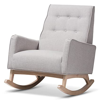Amazon Com Baxton Studio Mid Century Modern Rocking Chair In