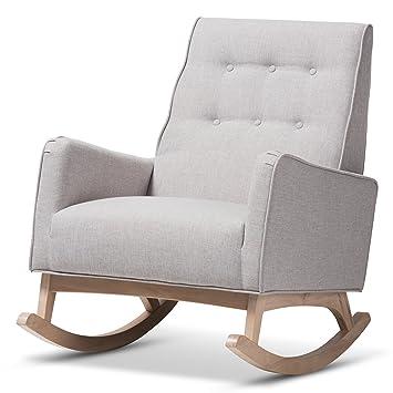 Remarkable Amazon Com Baxton Studio Mid Century Modern Rocking Chair Machost Co Dining Chair Design Ideas Machostcouk