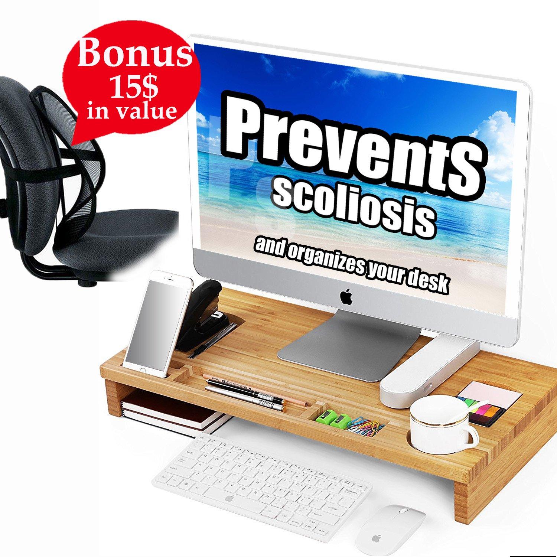 Prevent Your脊椎からScoliosis with竹モニタスタンドライザーOrganizesホルダーホームオフィスノートパソコンデスク多機能オーガナイザーストレージラックの正しい姿勢+座っているバックサポート+電子書籍 B07CJGSB21