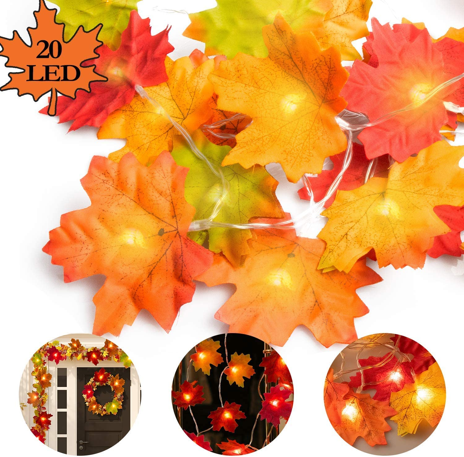 Ponwec Fall Room Decor Maple Leaf Light, Unique 5 Vivid Colors Fall Leaf Garland with 20 Lights Twinkle Decorative Hanging Lights for Indoor Outdoor Home Thanksgiving Fall Party Decorations