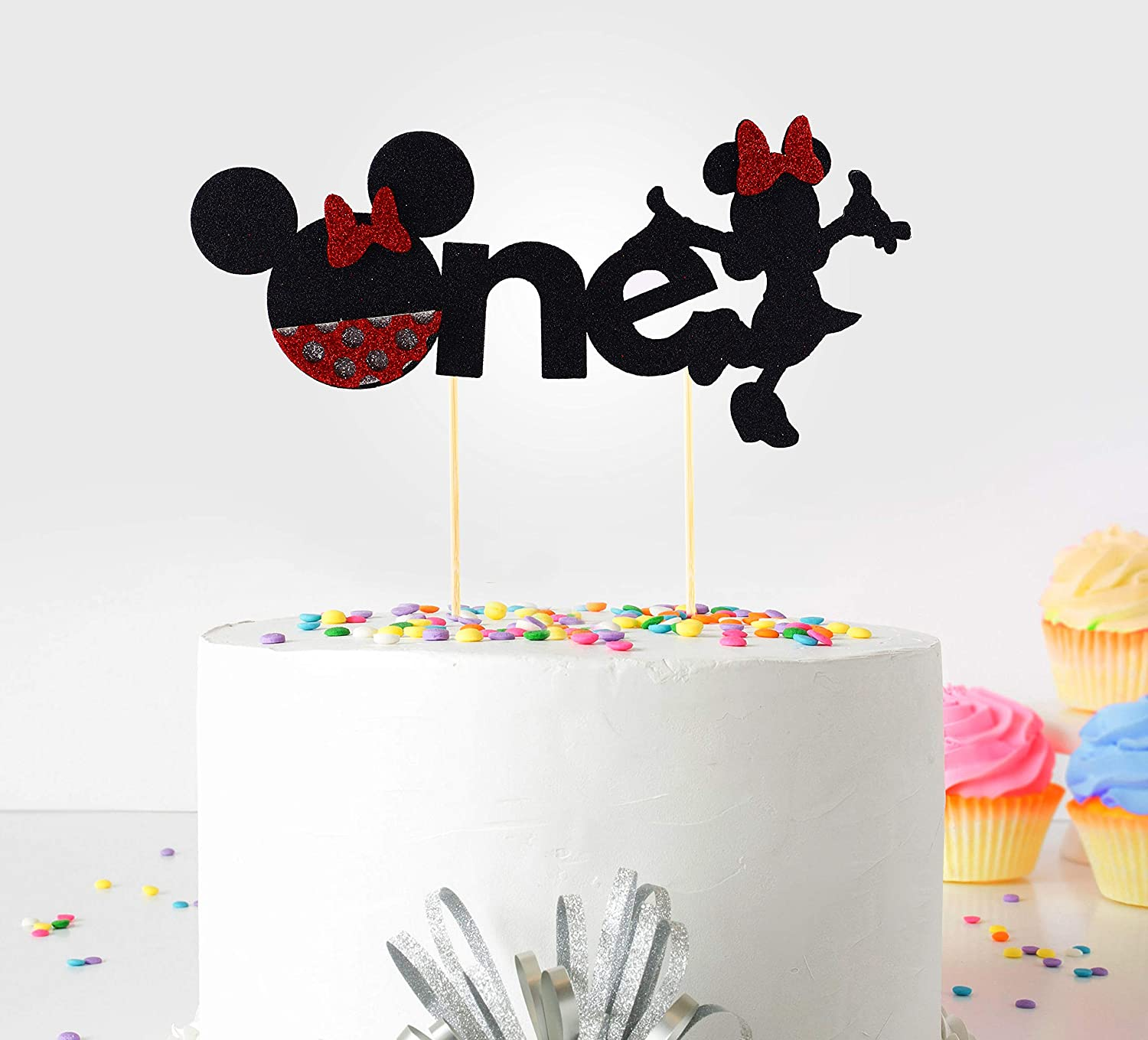 Stupendous 1St First Birthday Cake Topper Decoration Minnie Mickey Mouse Funny Birthday Cards Online Inifodamsfinfo