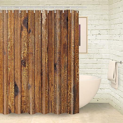 Foog Plateau Peep Toe Vorhang Fur Die Dusche Holz Streifen Holz