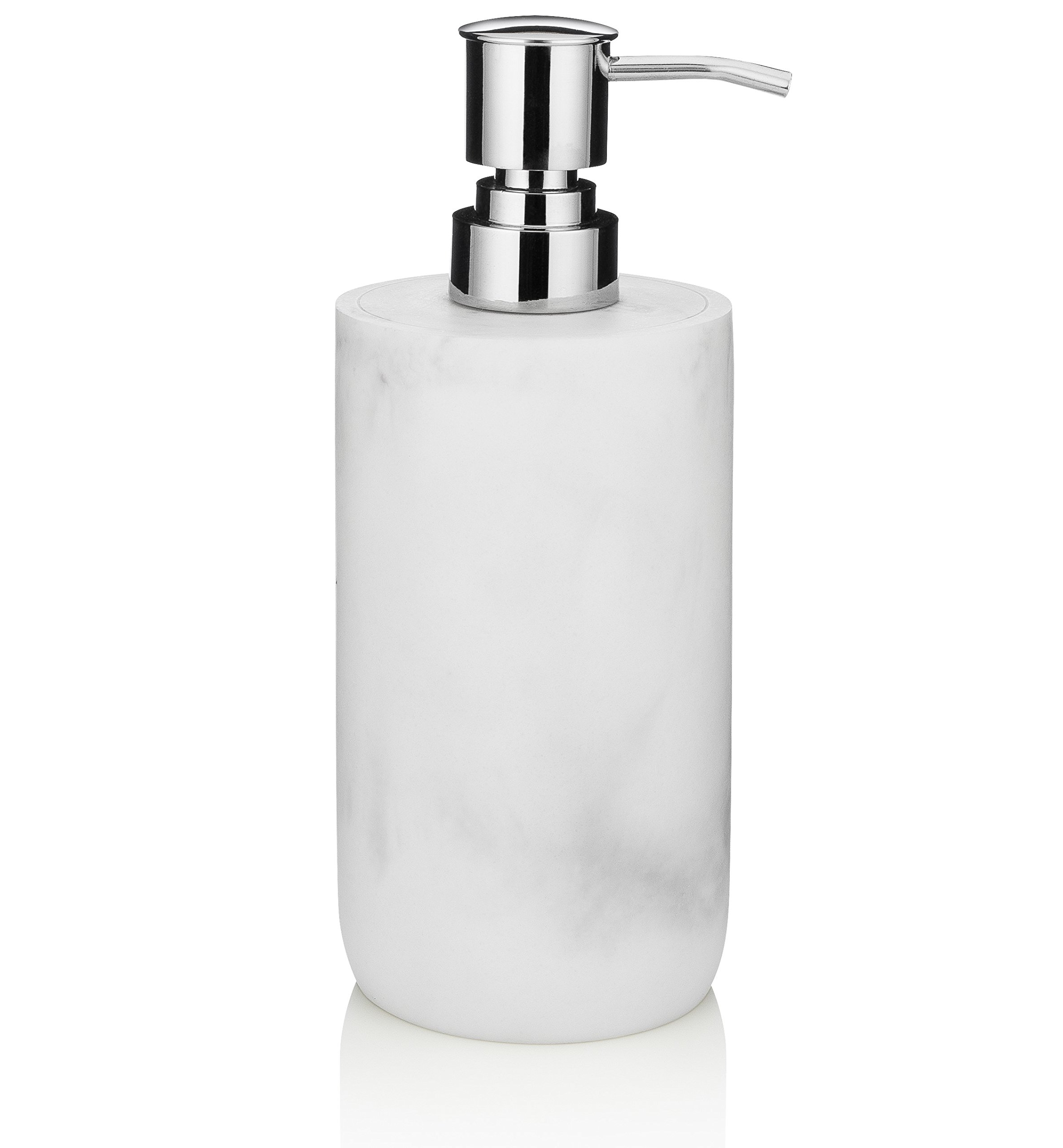 EssentraHome Blanc Collection White Liquid Soap Dispenser with Metal Pump for Bathroom, Bedroom or Kitchen. Also Great for Hand Lotion and Essential Oils.