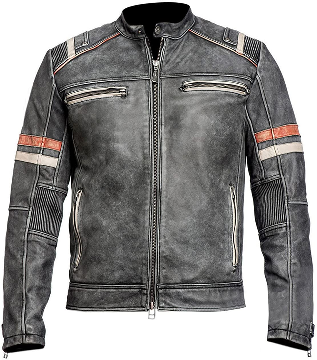 Men/'s Retro 2 Cafe Racer Red /& White Detailed Motorcycle Rider Distressed Black Leather Jacket