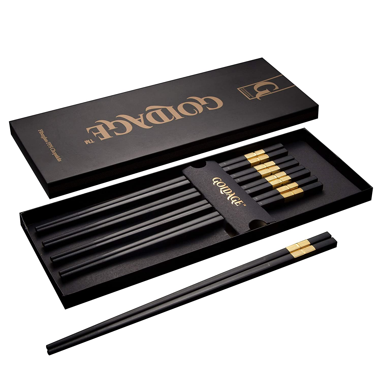 Goldage 5-Pairs Fiberglass Dishwasher-safe Chopsticks (Hourglass - Gold)