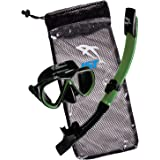 IST Snorkeling Combo Set: Mask, Semi-Dry Snorkel, Mesh Travel Bag (Adult and Junior sizes)