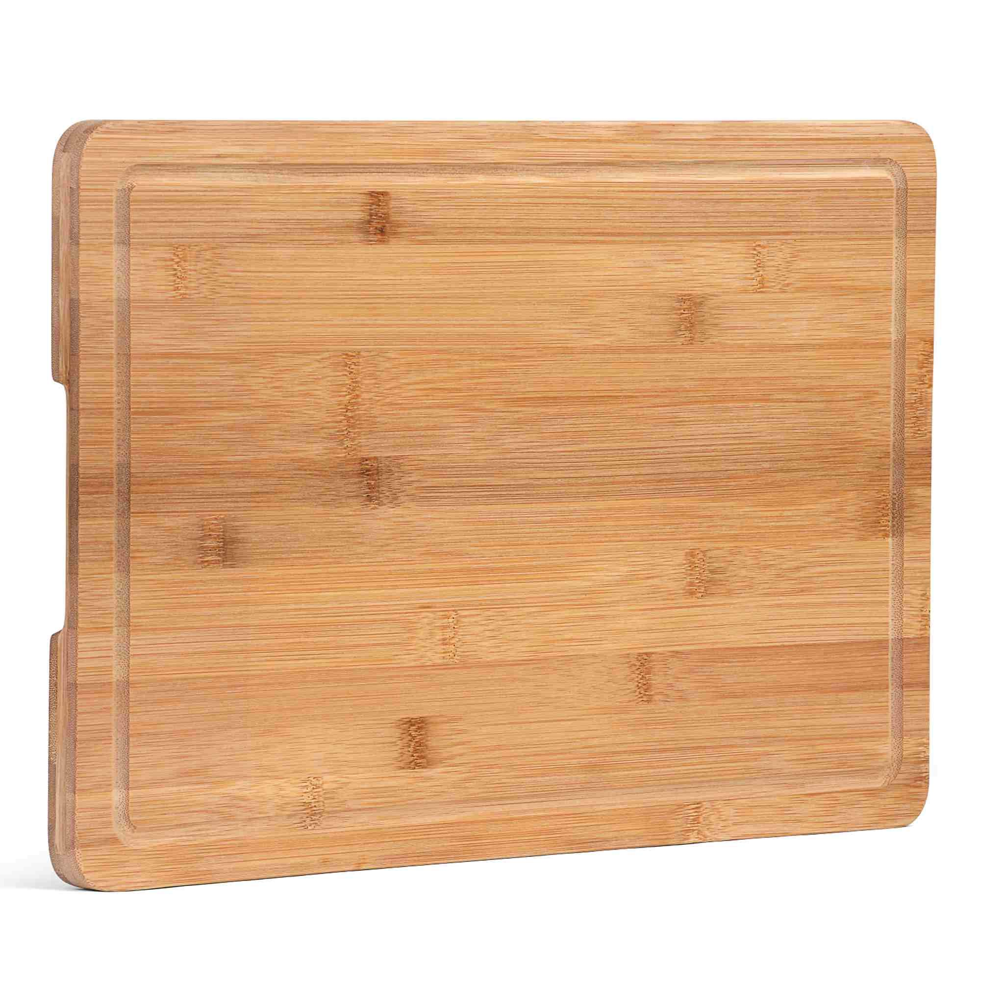 Bamboo Cutting Board with Juice Groove, Extra Large (18x12''), Cutting board for Kitchen, Chopping Board for Meat (Butcher Block), Cheese board, Charcuterie board, Reversible Serving Tray with Handles