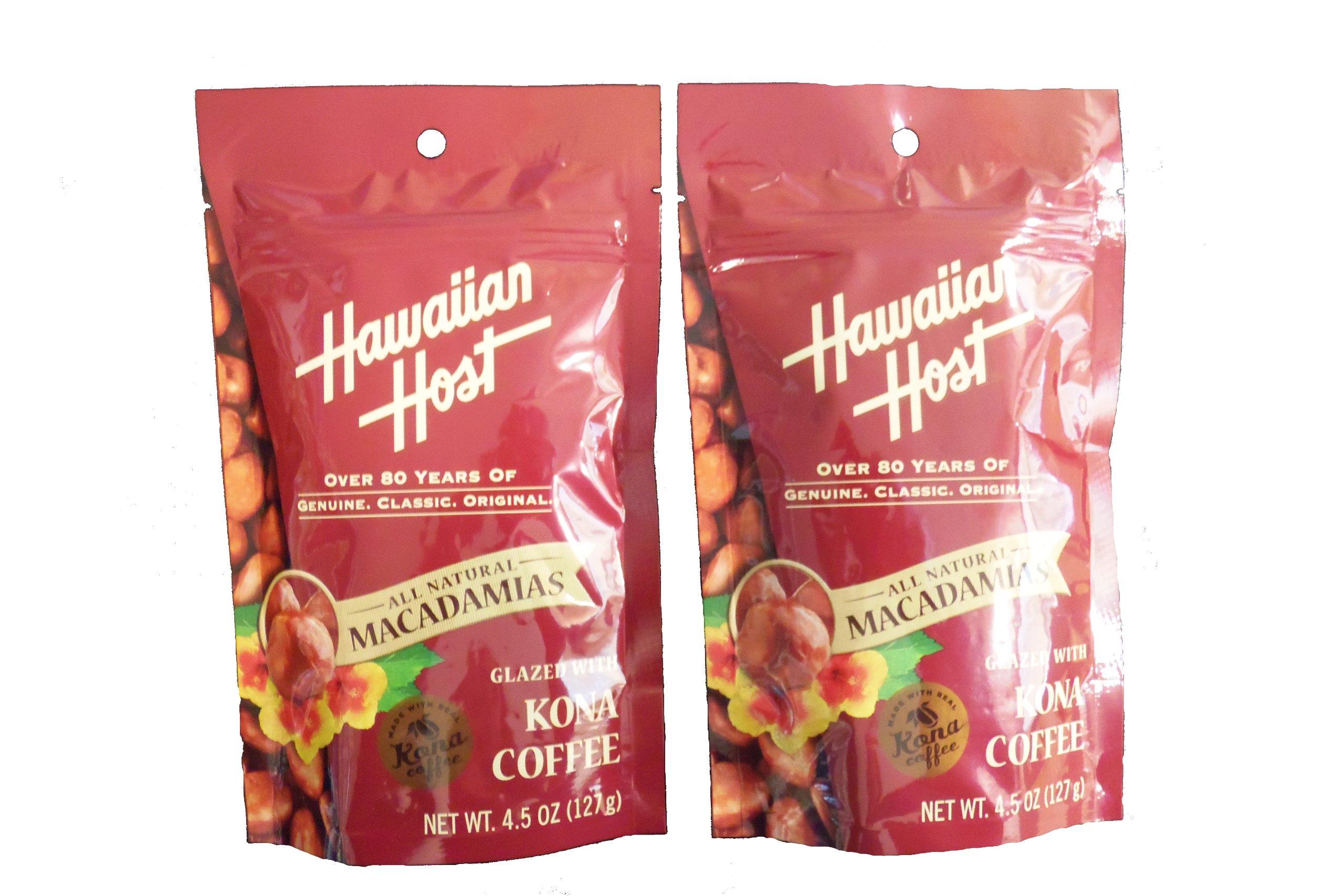 Hawaiian Host Macadamia Nuts - Glazed with KONA COFFEE - 2 Bags, 4.5 Oz each