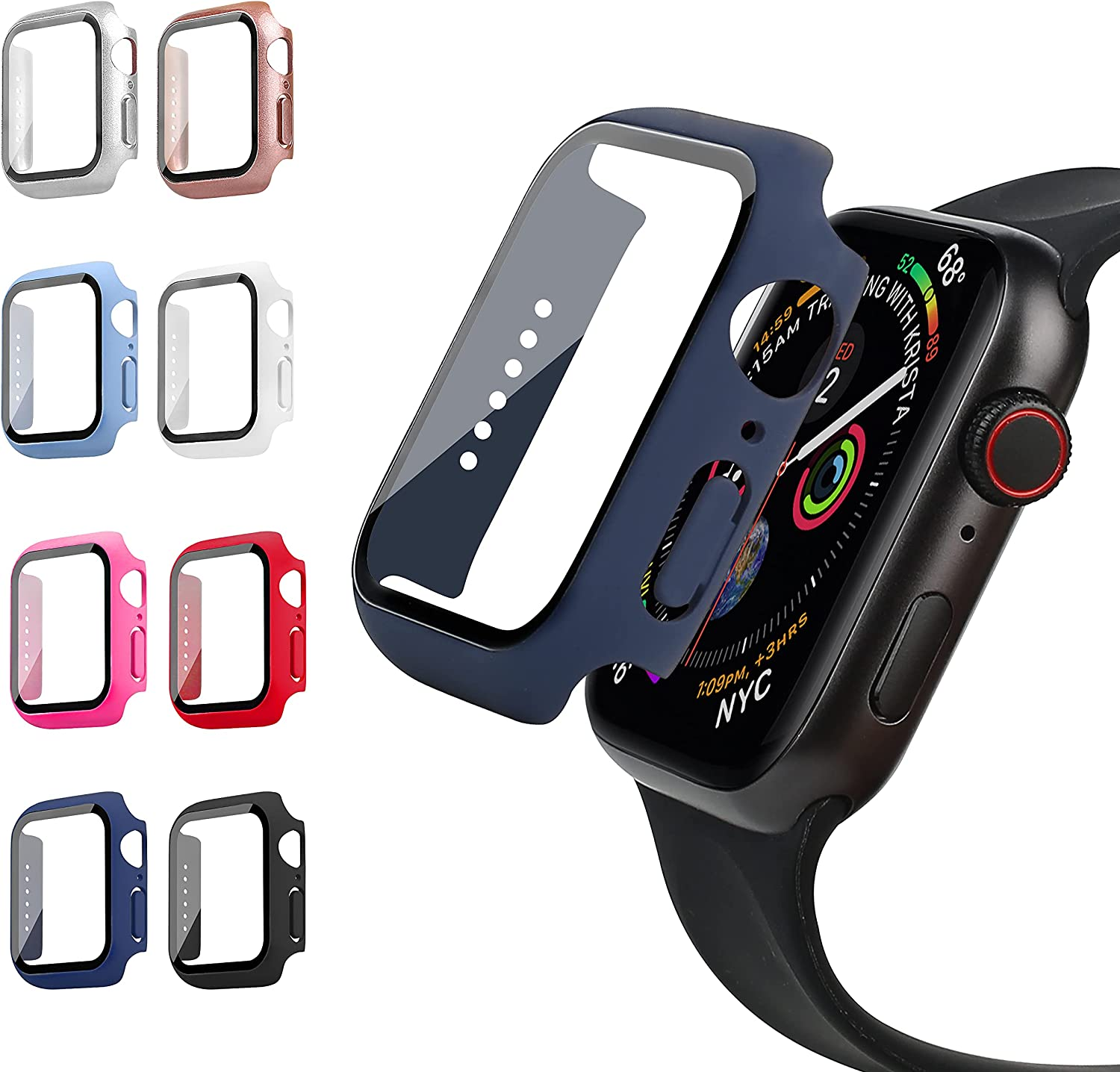 RIDAINTY 8 Pack 40mm Screen Protector Case Compatible with Apple Watch Series 6/5/4/SE, Hard PC HD Clear Tempered Glass Ultra Thin Bumper iWatch Protective Cover Smartwatch Accessories for Women Men