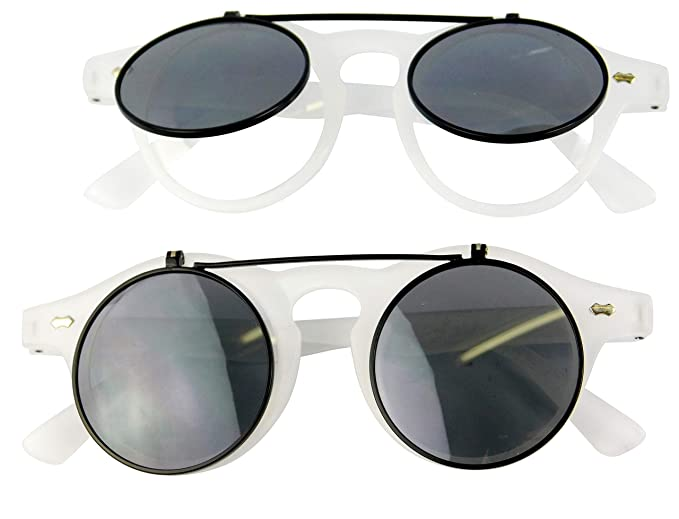 W83 Flip up Steampunk 80s retro vintage round Sunglasses
