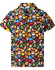 King Kameha Hawaiian Shirt for Men Funky Casual Button Down Very Loud Shortsleeve Unisex X-Mas Christmas Allover