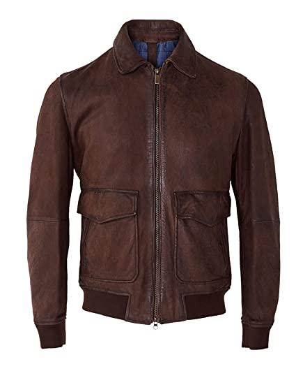 049c76770 MASSIMO DUTTI Men's Vintage Nappa Bomber Jacket 3331/177 Brown ...