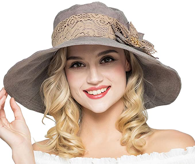 a21856148 Elonglin Womens Wide Brim Beach Hat Sun Hat with Lace Flower Cap Anti-UV