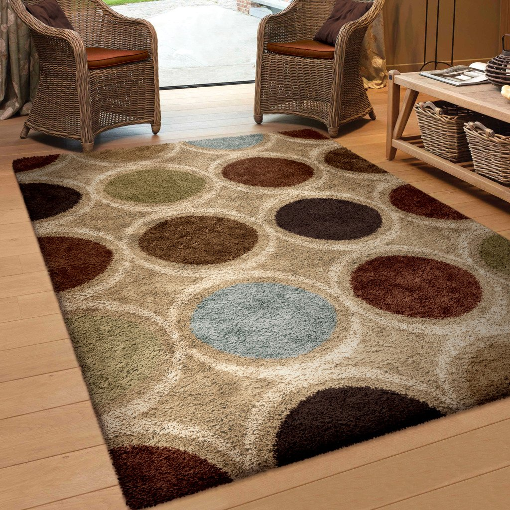 Beige Brown Blue Olive Area Rug Extra Thick Plush Unique