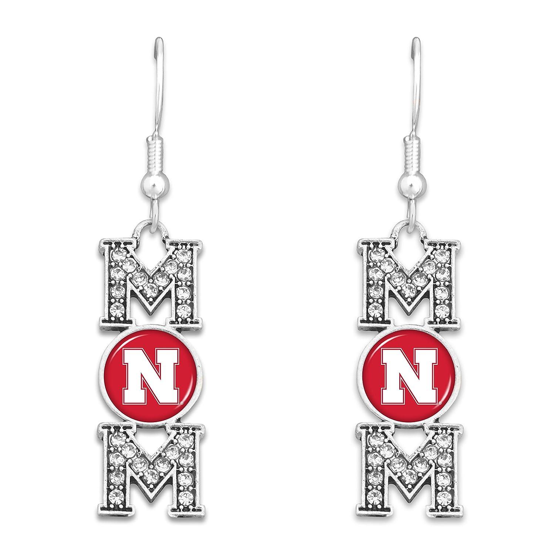 FTH Nebraska Cornhuskers MOM Earrings with Logo and Rhinestones