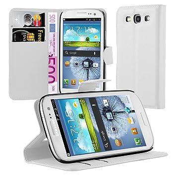 Cadorabo Carcasa Compatible con Samsung Galaxy S3/S3 Neo En Ártico Blanco Funda con Tarjetero Y Función Atril Carcasa Funda
