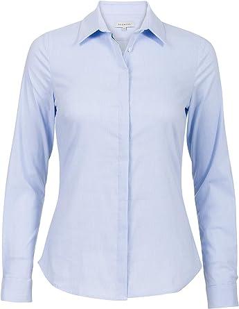 Promiss - Camisa clásica para mujer de algodón elástico, ajuste entallado, con cuello, mangas largas con puños azul claro 42: Amazon.es: Ropa y accesorios