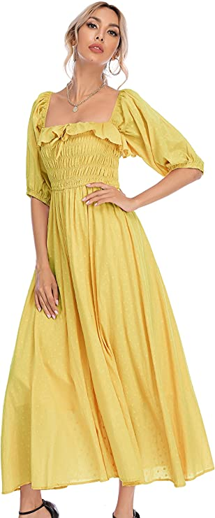 70s Outfits – 70s Style Ideas for Women R.Vivimos Women Summer Half Sleeve Cotton Ruffled Vintage Elegant Backless A Line Flowy Long Dresses $32.99 AT vintagedancer.com