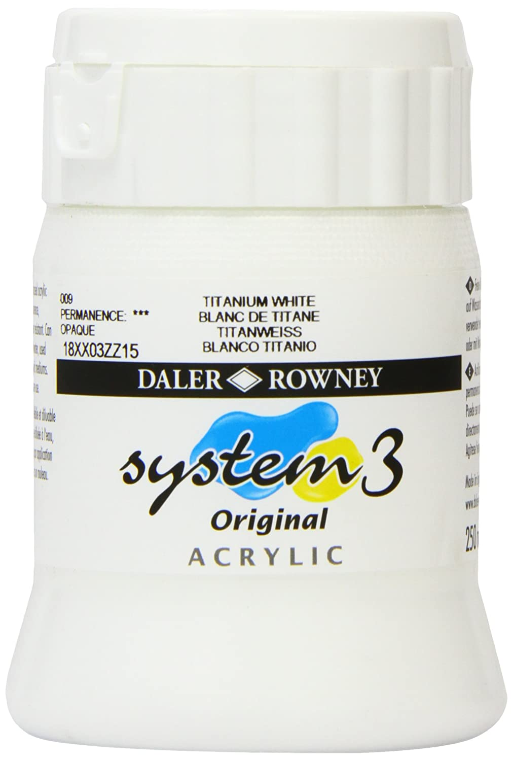 Daler - Rowney System 3 250ml Paint Ink Pot - Titanium White Daler-Rowney DR129250009