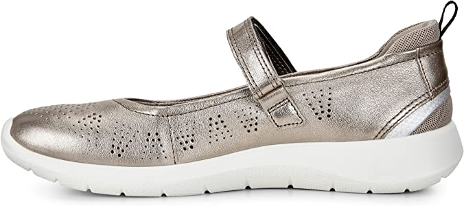 ECCO Women's Soft 5 Mary Jane, Black, Gold (57462warm Grey
