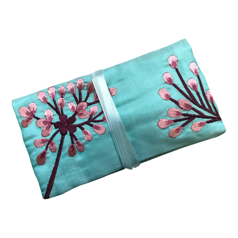Eco Blue - Busta portagioie da viaggio in seta, commercio equo e solidale, colore: turchese, con ricami Ecoblue