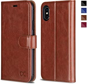 OCASE iPhone X Wallet Case, iPhone 10 Case [ Wireless Charging ] [ Card Slot ] [ Kickstand ] Leather Flip Wallet Phone Cover Compatible for iPhone X/iPhone 10 - Brown