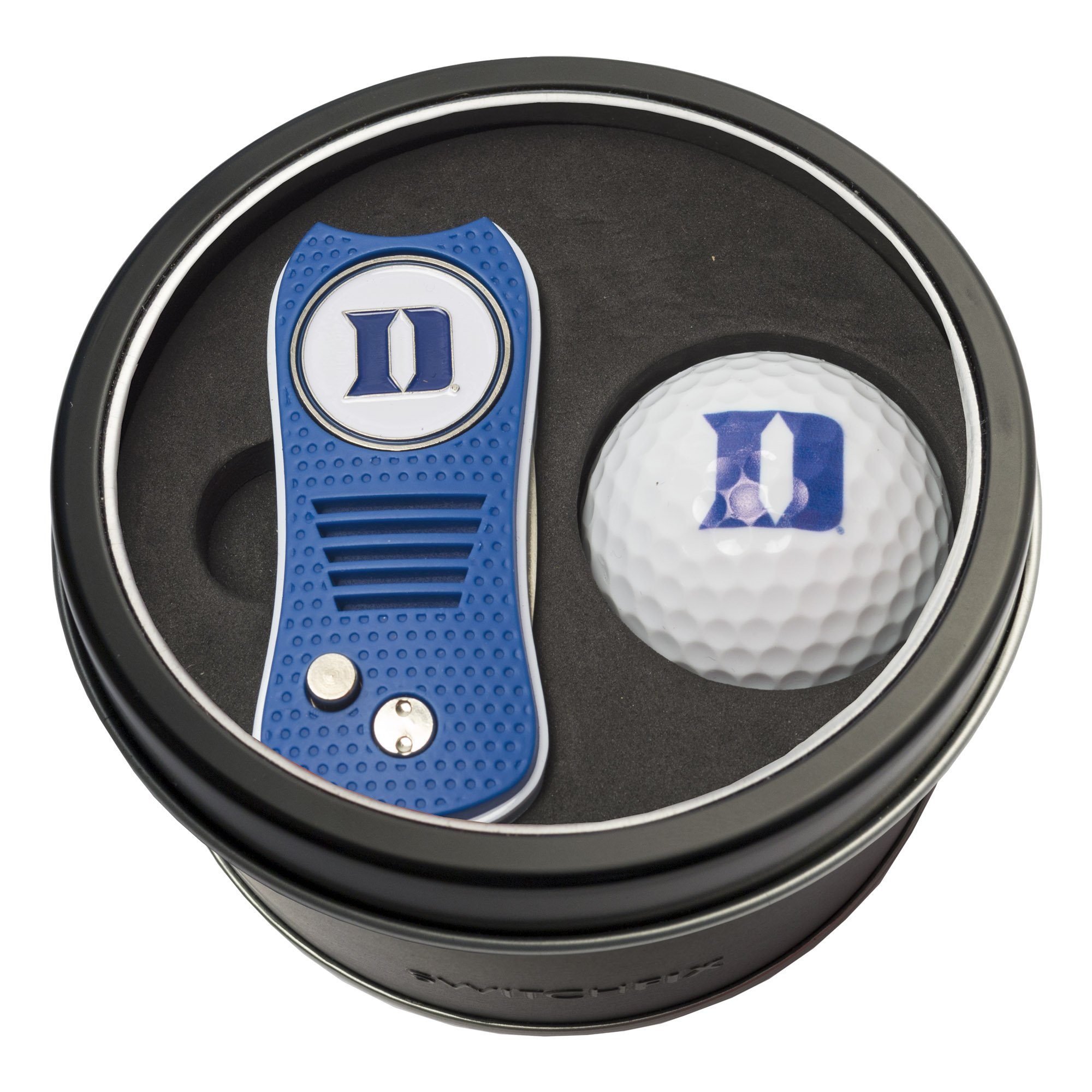Team Golf NCAA Duke Blue Devils Gift Set Switchblade Divot Tool with Double-Sided Magnetic Ball Marker & Golf Ball, Patented Single Prong Design, Less Damage to Greens, Switchblade Mechanism by Team Golf