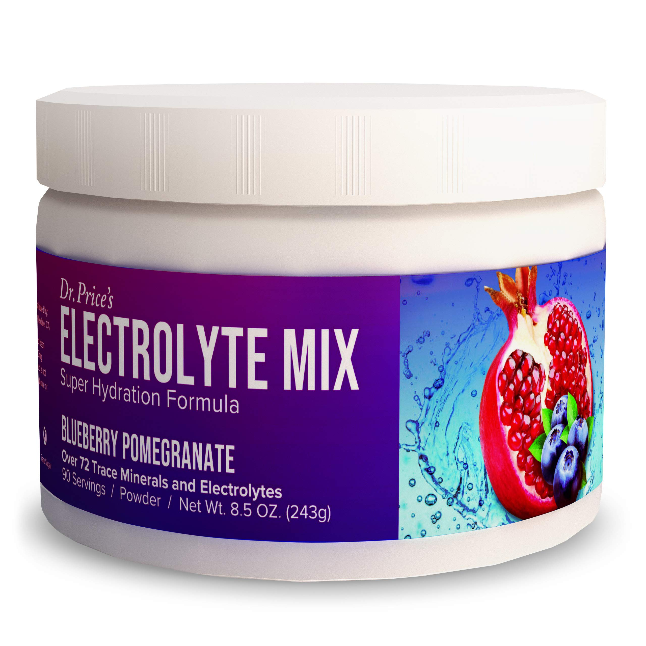 Electrolyte Mix Supplement Powder, 90 Servings, 72 Trace Minerals, Potassium, Sodium, Electrolyte Replacement Keto Drink   Blueberry-Pomegranate Flavor   Dr. Price's Vitamins, No Sugar, Vegan Non-GMO by Dr. Price's Vitamins