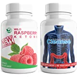Wild Raspberry Ketone + Daily Power Cleanse Duo 120 Capsules High Strength Detox for Weight Loss Combo High Quality Supplement (60x Raspberry Ketone + 60x Colon Cleanse Detox) …